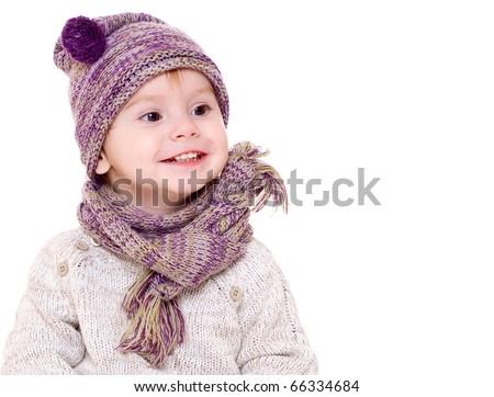 Portrait of baby boy in winter suite - stock photo