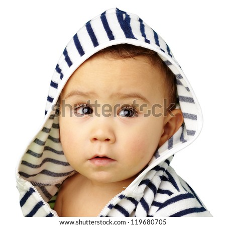 Portrait Of Baby Boy Isolated On White Background - stock photo