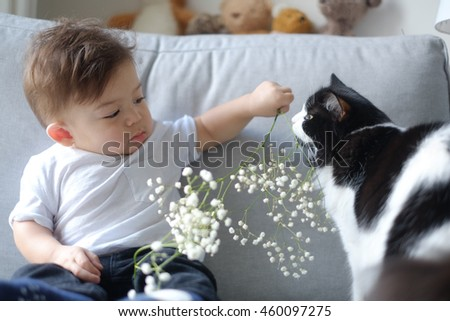 Portrait of baby boy with a cat at home. - stock photo