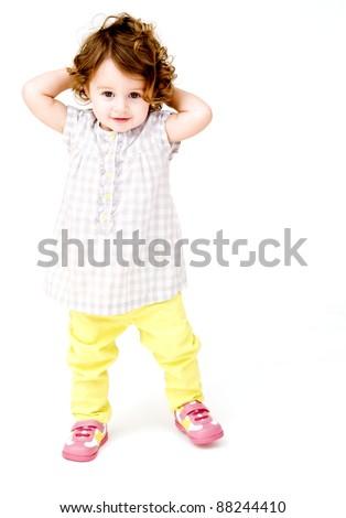 Portrait of Baby Girl Posing - stock photo