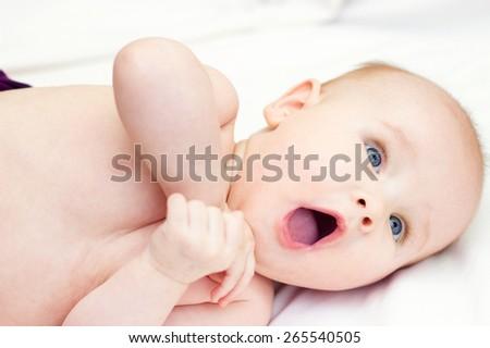 portrait of baby . sweet baby - stock photo