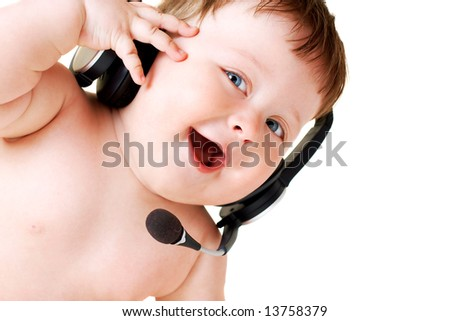portrait of baby with headset on white background - stock photo