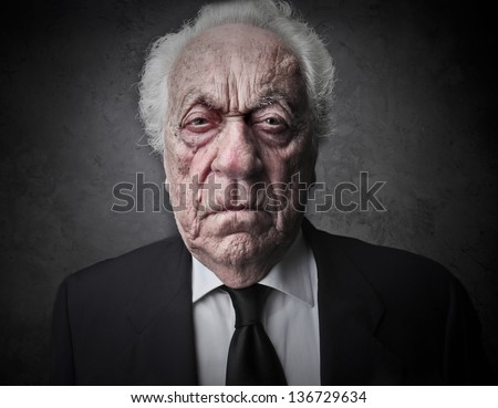 portrait of bad old businessman