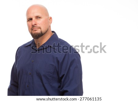 Portrait of bald, handsome young man isolated on white background. Caucasian man with beard looking serious and copy space. - stock photo