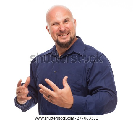 Portrait of bald, handsome young man isolated on white background. Caucasian man with beard looking intense. - stock photo