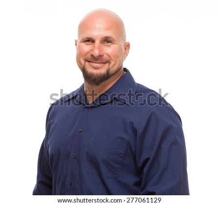 Portrait of bald, handsome young man isolated on white background. Caucasian man with beard smiling. - stock photo