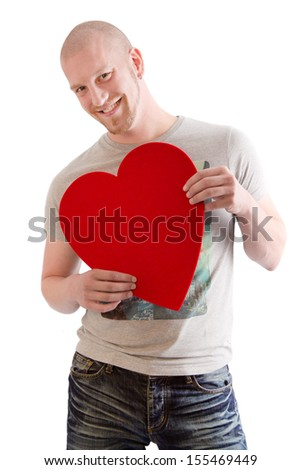 Portrait of bald man posing with heart isolated on White. - stock photo