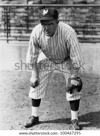 Portrait of baseball player - stock photo