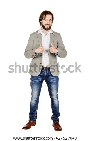 portrait of bearded business man pointing fingers on himself. human emotion expression and lifestyle concept. image on a white studio background. - stock photo