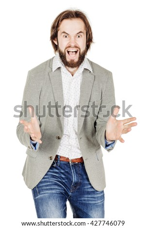 portrait of bearded business man with arms wide open. emotions, facial expressions, feelings, body language, signs. image on a white studio background. - stock photo