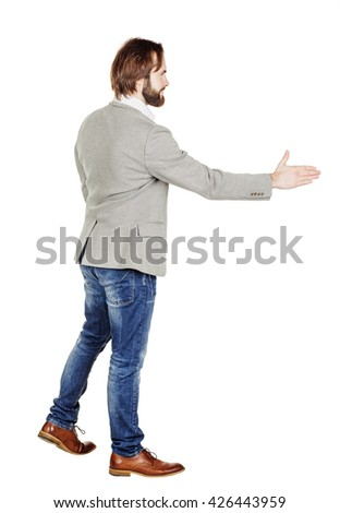 portrait of bearded businessman giving hand for an handshake.  human emotion expression and office, business, technology, finances and internet concept. image isolated white background. - stock photo