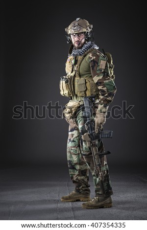 Portrait of Bearded US Army Soldier on Dark Background