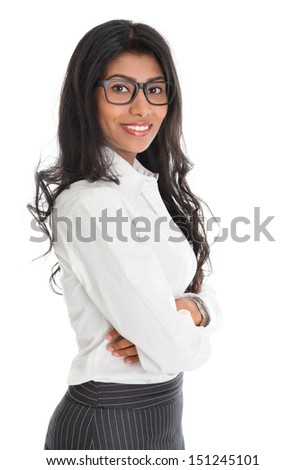 Portrait of beautiful African American business woman smiling, standing isolated over white background. Mixed race Asian Indian and African American model. - stock photo