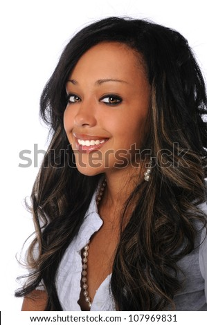 Portrait of beautiful African American woman smiling isolated over white background - stock photo