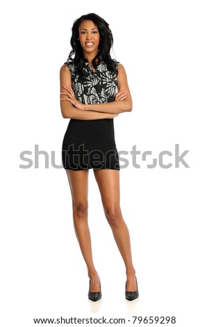 Portrait of beautiful African American woman with arms crossed isolated over white background - stock photo