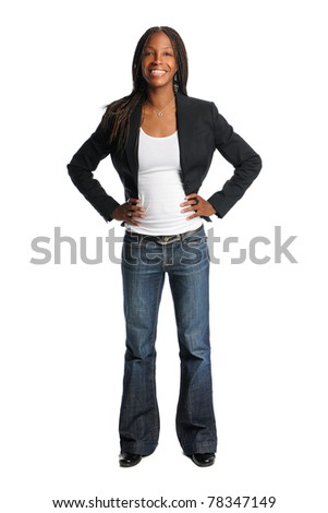 Portrait of beautiful African American woman with hands oh hips isolated over white background - stock photo