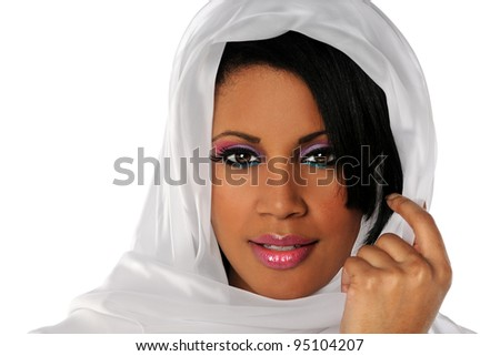 Portrait of beautiful African American woman with veil isolated over white background - stock photo