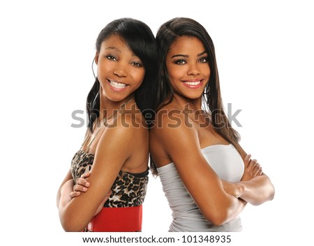 Portrait of beautiful African American women smiling with arms crossed isolated over white background - stock photo