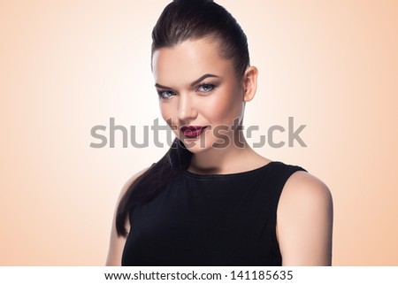 Portrait of beautiful and fashion girl with Professional make up and hairstyle - stock photo