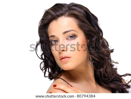 Portrait of beautiful and fashion model woman with blown hairs - stock photo