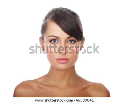 Portrait of beautiful and sexy woman on white - stock photo