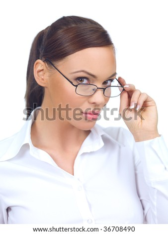 Portrait of beautiful and young business woman on white