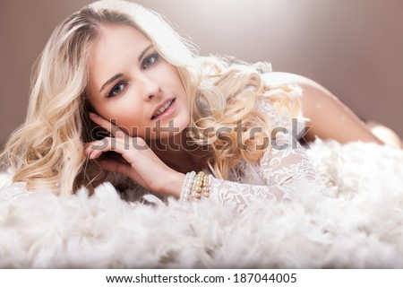 Portrait of beautiful angelic look young woman in studio