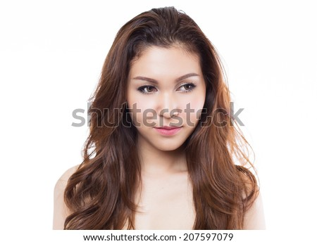Portrait of beautiful asian female on white background