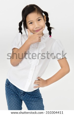 Portrait of beautiful Asian girl on gray background , Happy face