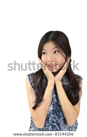 Portrait of beautiful asian woman surprising and exciting on white background - stock photo