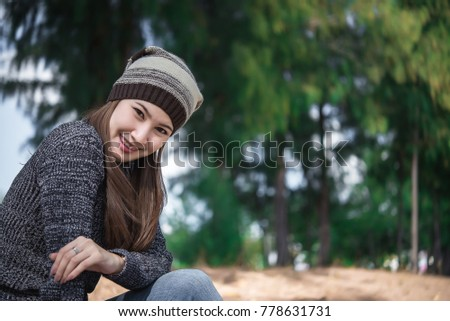 Portrait of beautiful asian woman,Young girl winter portrait,Thailand people