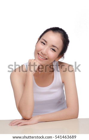 Portrait of Beautiful Asian women on white background
