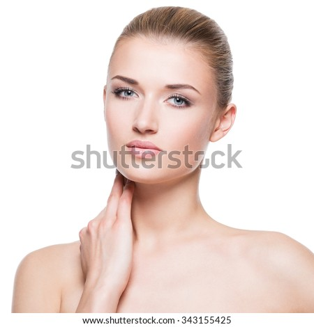Portrait of beautiful attractive young blond woman with clean face - isolated on white. - stock photo