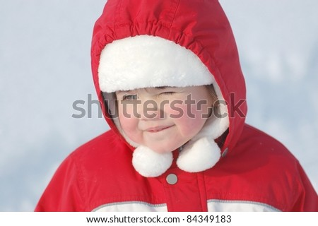 Portrait of beautiful baby in winter time - stock photo