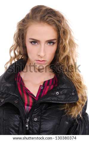 portrait of beautiful blond girl with curly hair