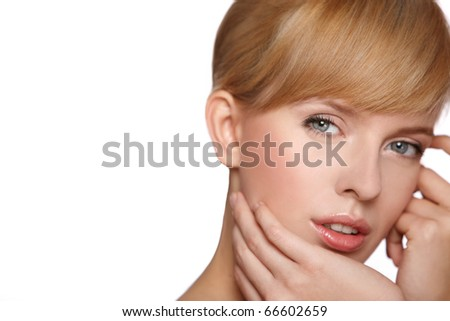 Portrait of beautiful blond woman looking at camera, isolated on white - stock photo