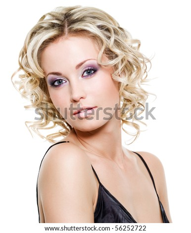 Portrait of beautiful blond young woman - isolated on white - stock photo