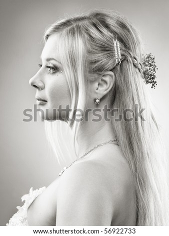 portrait of beautiful blonde bride studio shot