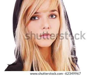 portrait of beautiful blonde girl on white - stock photo