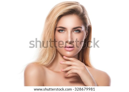 Portrait of beautiful blonde girl on white background
