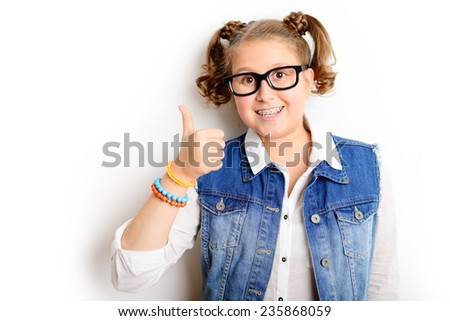Portrait of beautiful blonde girl ,schoolgirl and a teenager on a white background - stock photo