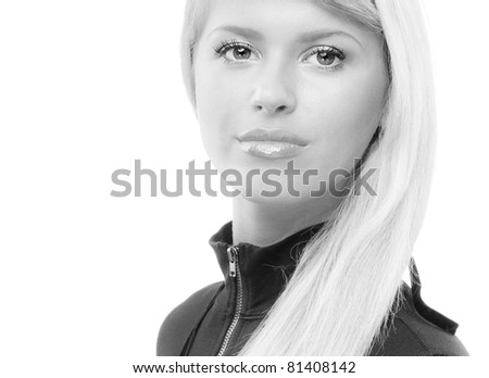 Portrait of beautiful blonde in black clothes, isolated on white background. - stock photo