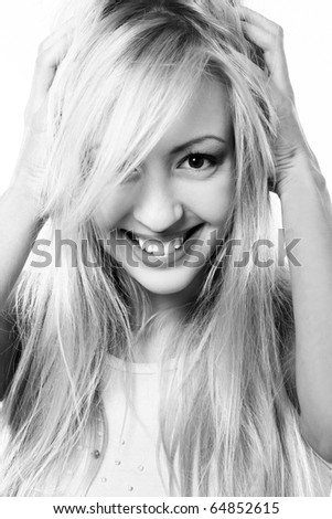 Portrait of beautiful blonde lady on white background