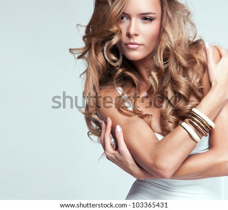Portrait of beautiful blonde woman