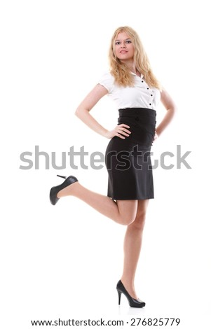 portrait of beautiful blonde woman in full length isolated on white background - stock photo