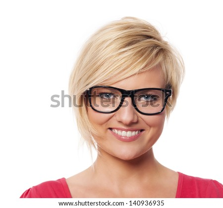 Portrait of beautiful blonde woman with glasses - stock photo