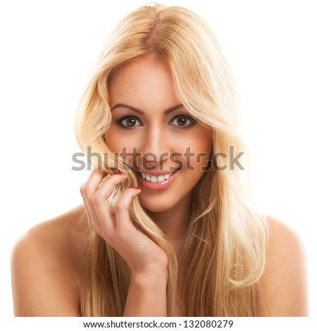 Portrait of beautiful blonde woman with long hair - stock photo