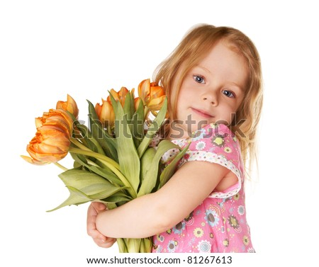 Portrait of beautiful blue-eyed child; little girl with bouquet of orange tulips isolated on white background - stock photo