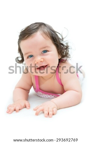 Portrait of beautiful blue-eyed girl - stock photo