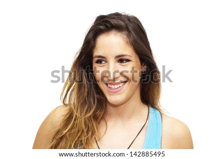 Portrait of beautiful blue-eyed girl with blue shirt on a white background